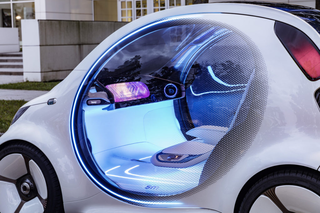 Photo of interior of Smart concept vision EQ fortwo.