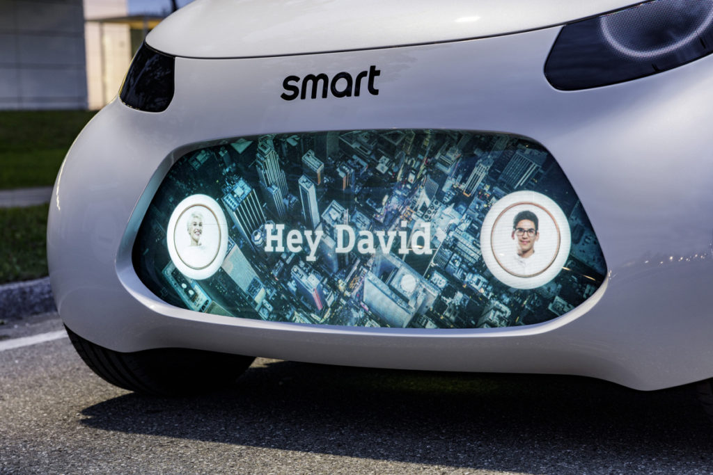Photo of message board on front of Smart concept vision EQ fortwo.