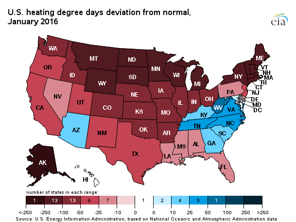 Change in Heating Degree Days, January 2016
