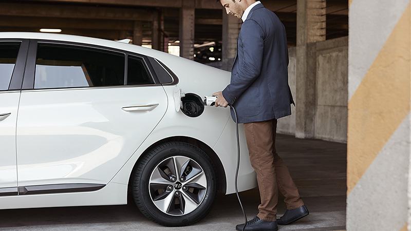 Photo of plugging in a Hyundai Ioniq Electric.