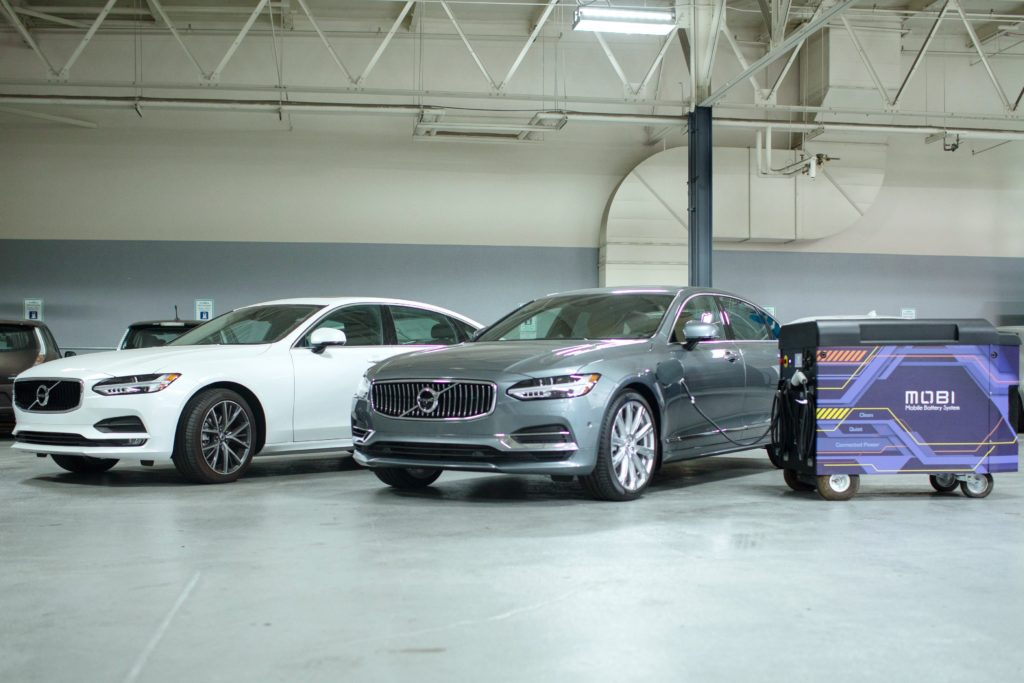 Photo of Volvo vehicles with Freewire charging.