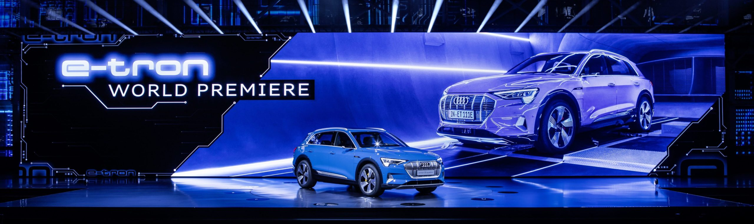 Photo of the world premiere of the Audi e-tron electric vehicle.