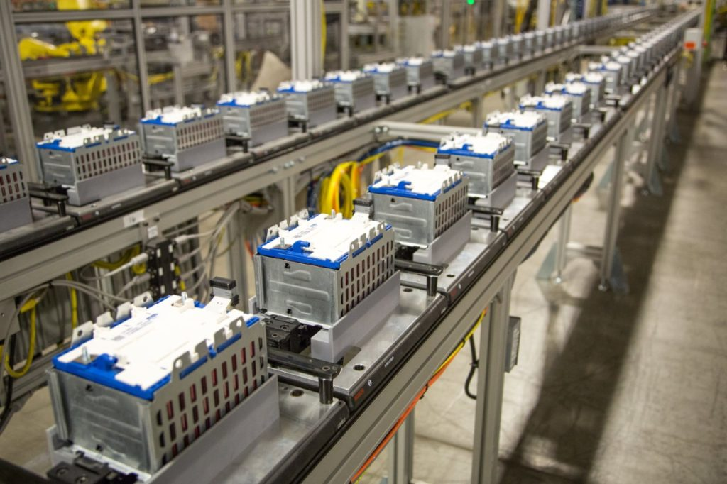 Image of General Motors battery assembly line