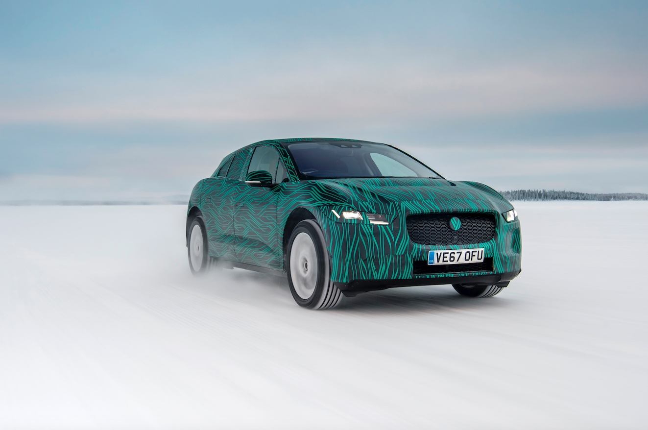 Photo and video of Jaguar I-Pace undergoing winter testing.