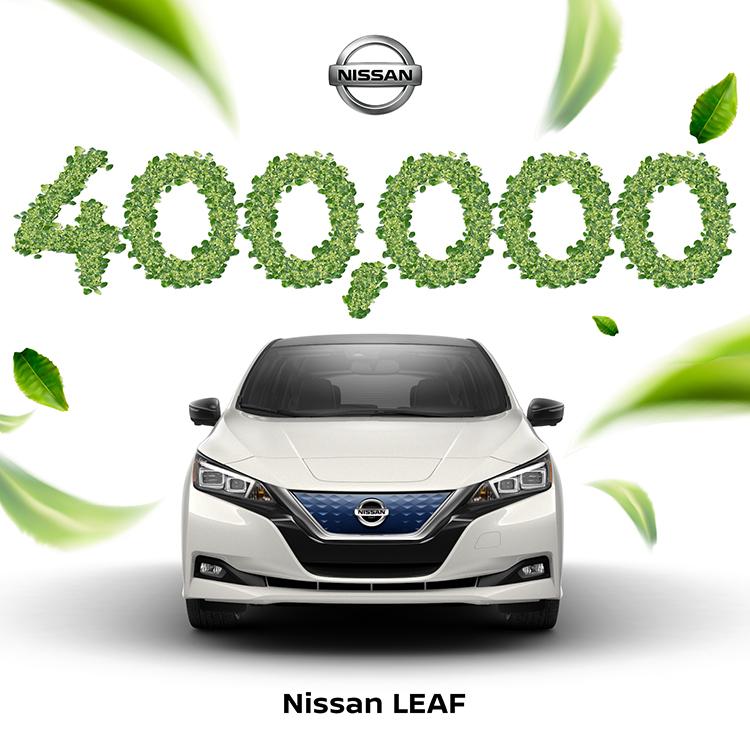 Illustration of Nissan Leaf EV hitting 400,000 in sales.