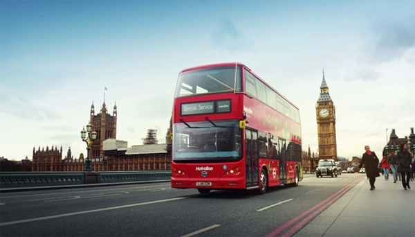 BYD pure electric double deck bus on the street of London