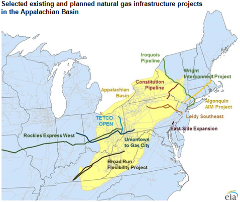 Map of Gas Pipelines in New England