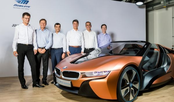 Press conference speakers - BMW Group, Intel, and Mobileye.