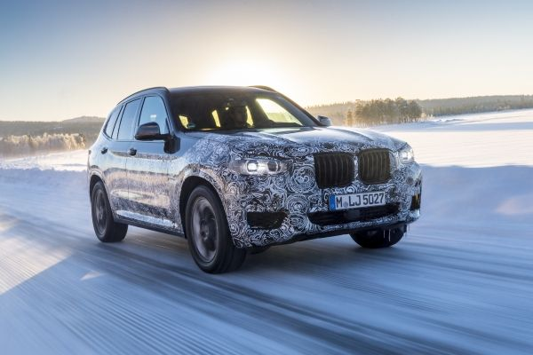 Photo of New BMW X3 undergoing dynamic winter testing in Sweden.