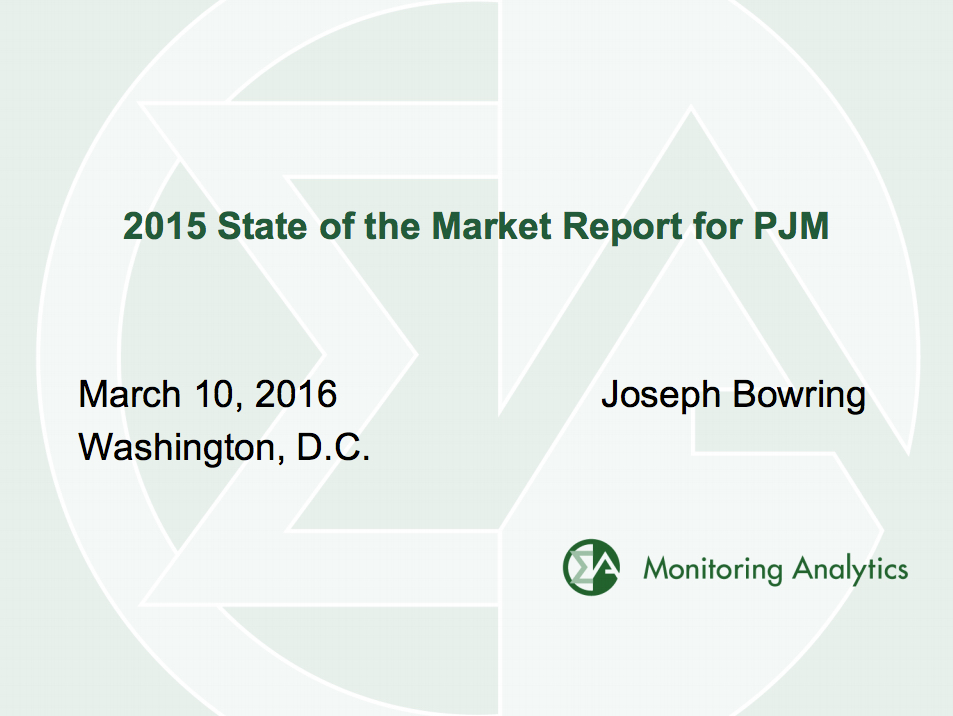 PJM IMM State of the Market 2015 Cover Page