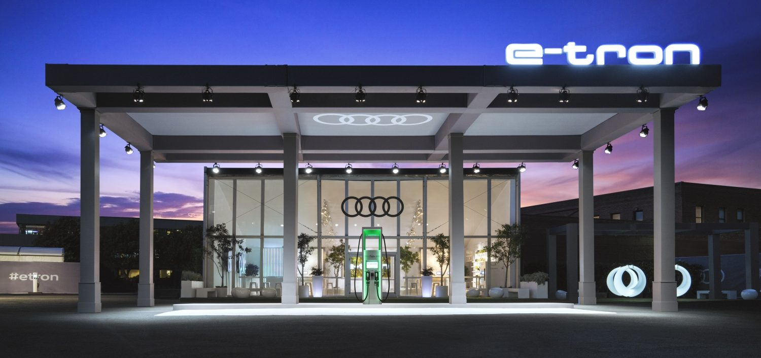 Photo of Audi's experiential electric vehicle charging station.