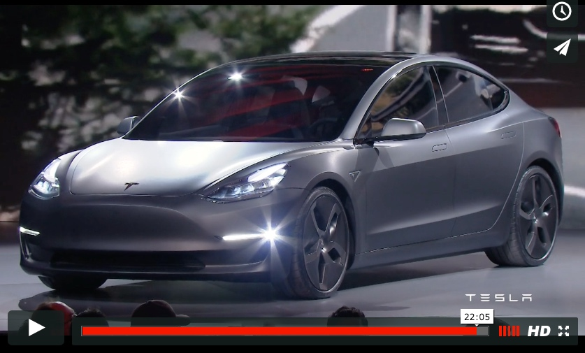 Tesla Model 3 unveiled on stage