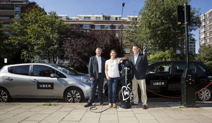 Photo of Uber at an electric vehicle charging station.