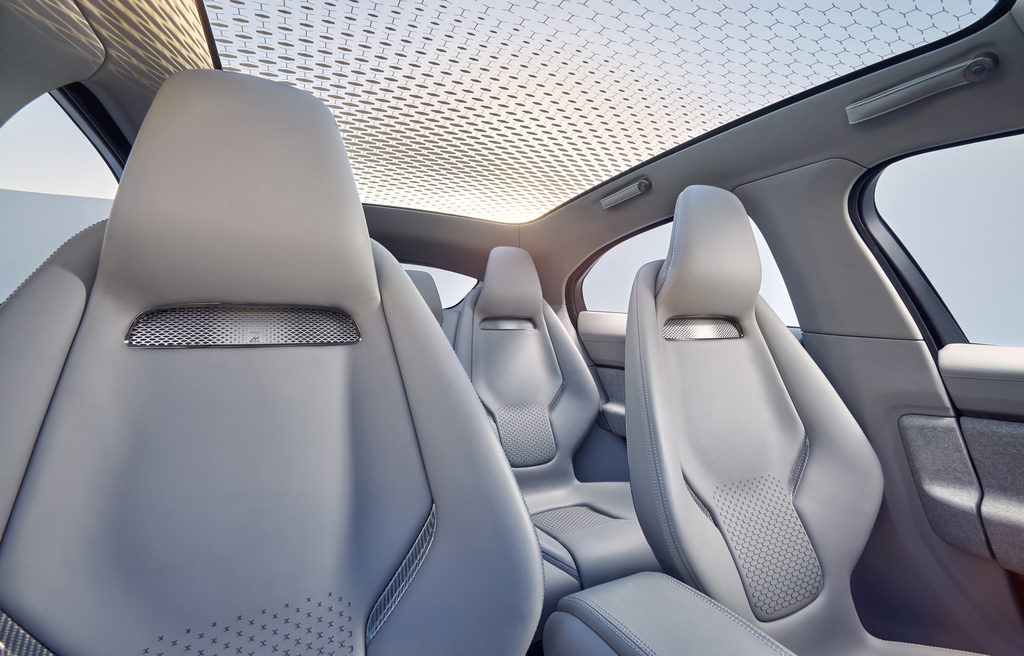 Photo of Jaguar I-Pace's full-length panoramic glass roof.