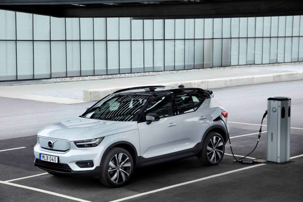 Photo of Volvo XC40 Recharge plugged in for charging.
